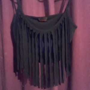 nwot black fringe top
